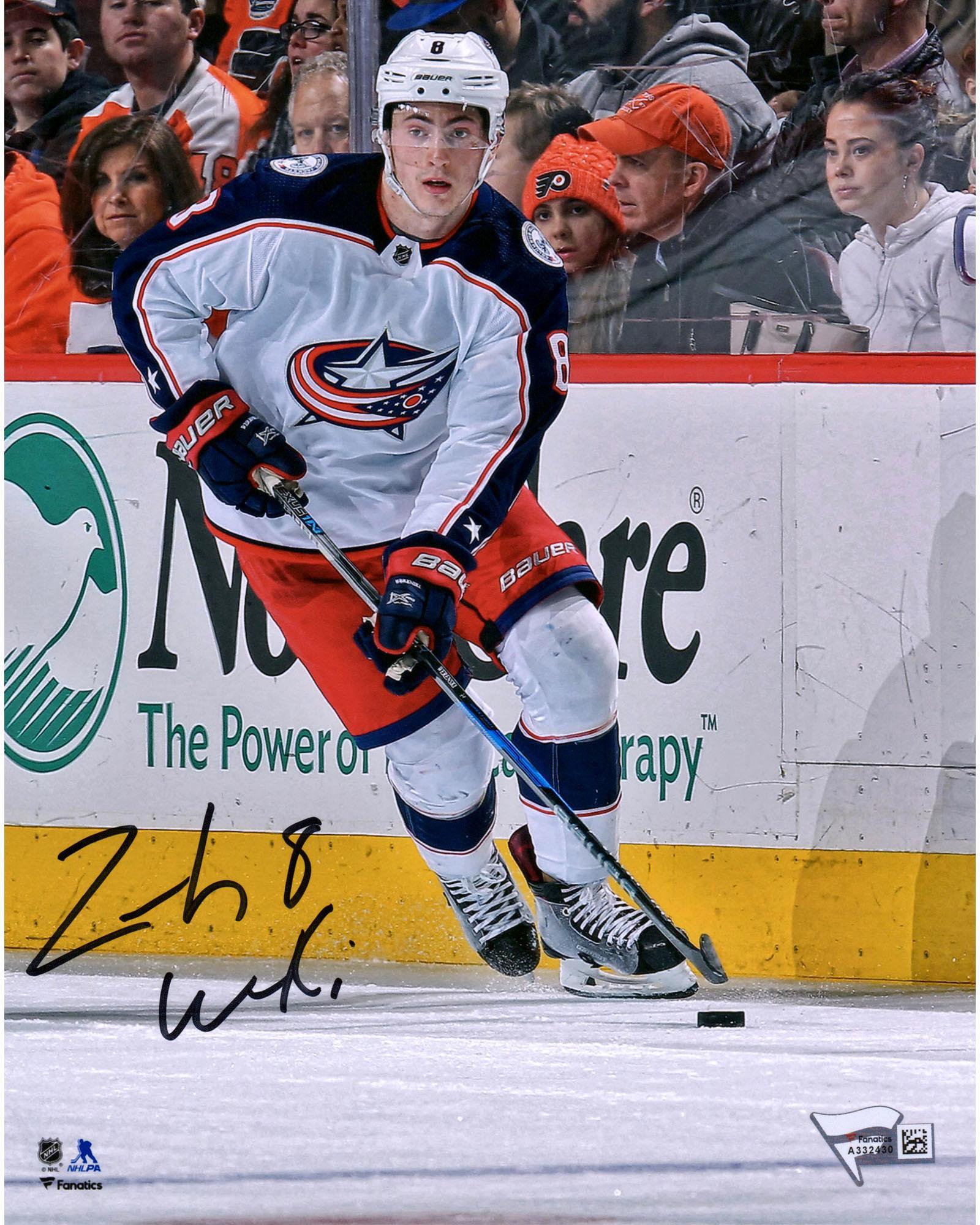 "Zach Werenski Columbus Blue Jackets Autographed 8"" x 10"" White Jersey Skating Photograph Fanatics Authentic... by Fanatics Authentic"
