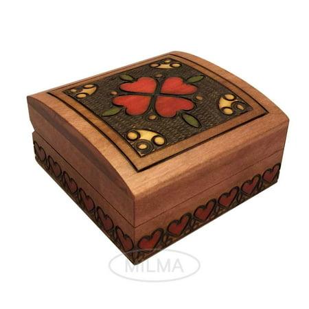 Small Handmade Box (Heart Box Small Elegant Wooden Jewelry Box Polish Linden Wood Handmade Keepsake )