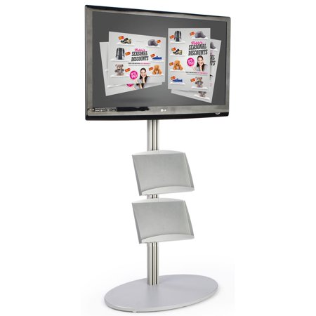 Flat Panel TV Stand with 2 Literature Shelves, Fits 32