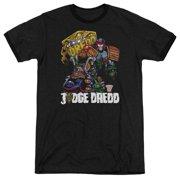 Judge Dredd Bike And Badge Mens Adult Heather Ringer Shirt
