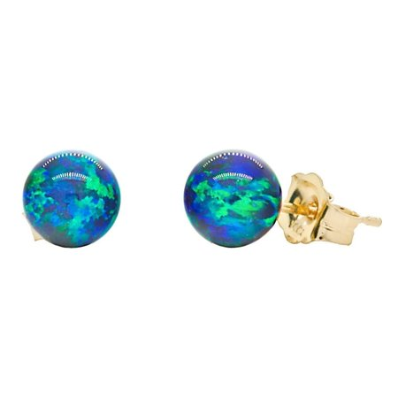 14k Gold 6MM Womens Blue opal Ball earrings