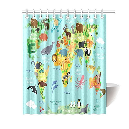 GCKG Children Kids Shower Curtain Decor Animal Map Of The World For And Cartoon Ocean Mountains Forests Fabric Bathroom Set With Hooks