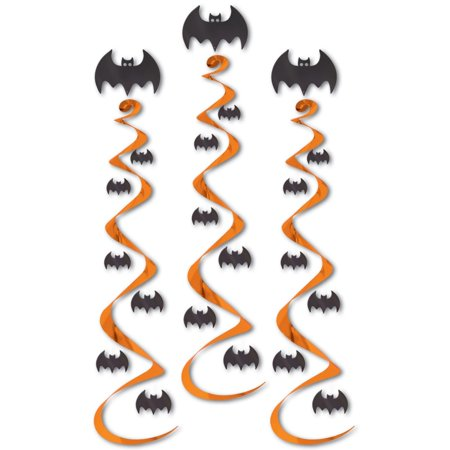Club Pack of 18 Orange and Black Halloween Bat Hanging Whirl Decorations - 18+ Halloween