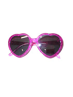 Princess Heart Shaped Girls Sunglasses Rhinestone Pink Glitter