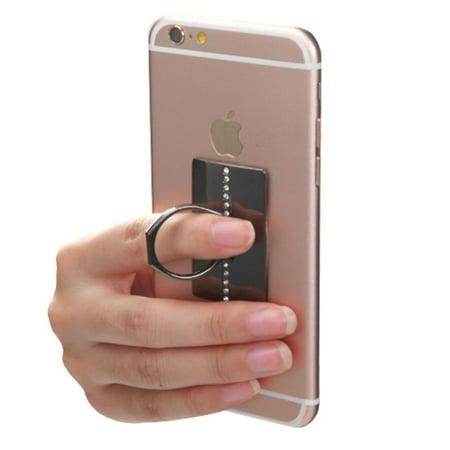 Insten Black Row Diamond Adhesive Ring Stand 360 Rotating Cell Phone Grip Holder Finger Bracket Kickstand Universal for iPhone 7 6 6s Plus SE 5s Samsung Galaxy S7 Edge S6 Note 5 J7 J5 J3 J1 On5 LG K7 - image 1 de 7