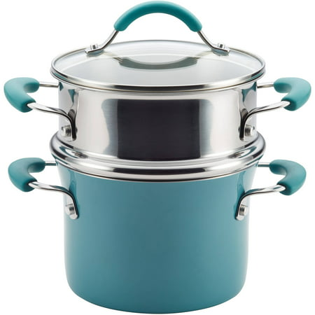 Meyer Rachael Ray Covered Pot - Rachael Ray Cucina Hard Porcelain Enamel Nonstick 3-Qt Covered Multi-Pot Set with Steamer, Agave Blue