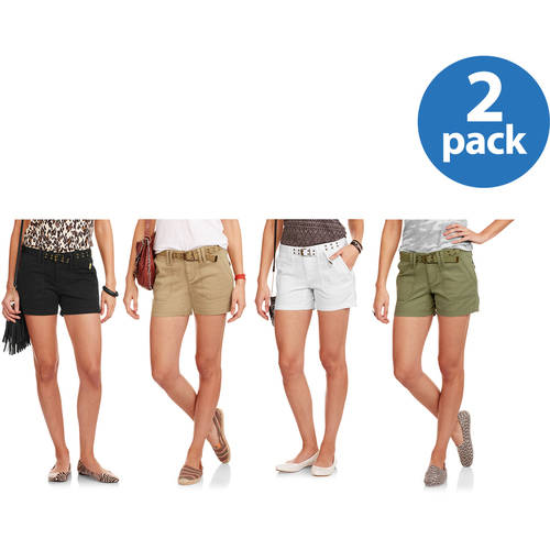 """Faded Glory Women's 4.5"""" Fatigue Belted Twill Shorts 2pk Value Bundle"""