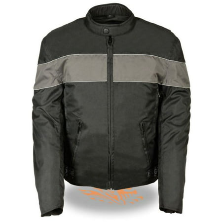 Milwaukee Mens Scooter Style Textile Jacket w/Reflective Piping Black/Gray