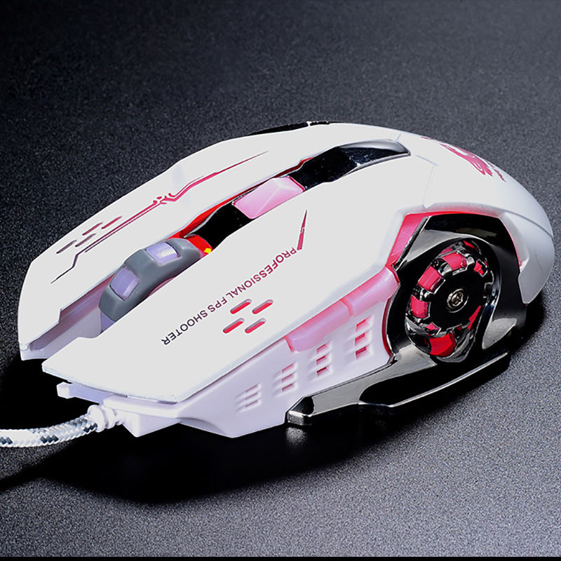 TSV Laser Gaming Mouse Wired with 6 Programable Buttons 4 Color Cycle Breathing, High Precision Metal Base, Used for games and office