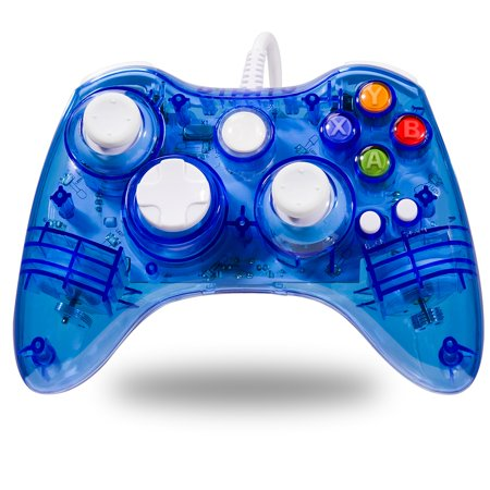 LUXMO Afterglow USB Wired Controller Gamepad for Microsoft Xbox 360 Console PC Win 7 8 10(Blue) (Green Xbox 360 Controller Wired)