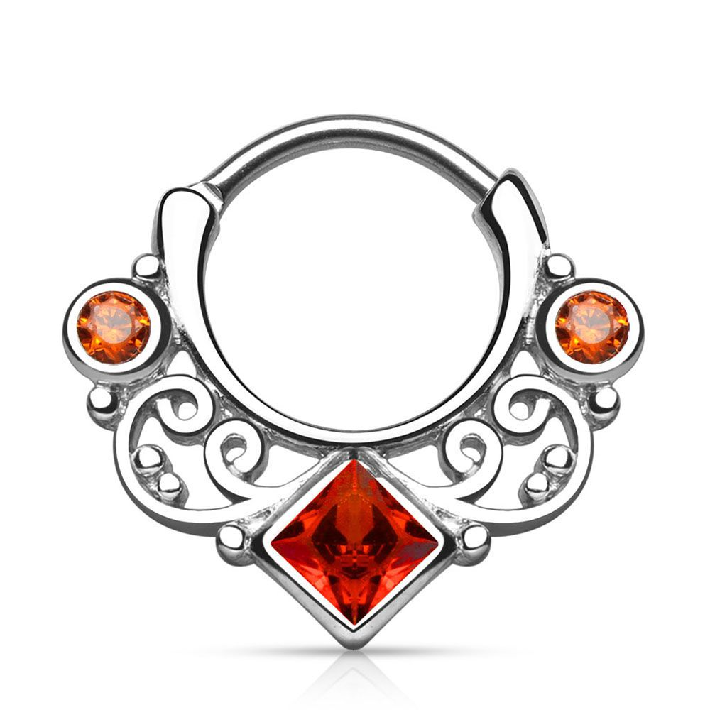 Lace Swirl CZ Surgical Steel Septum Clicker