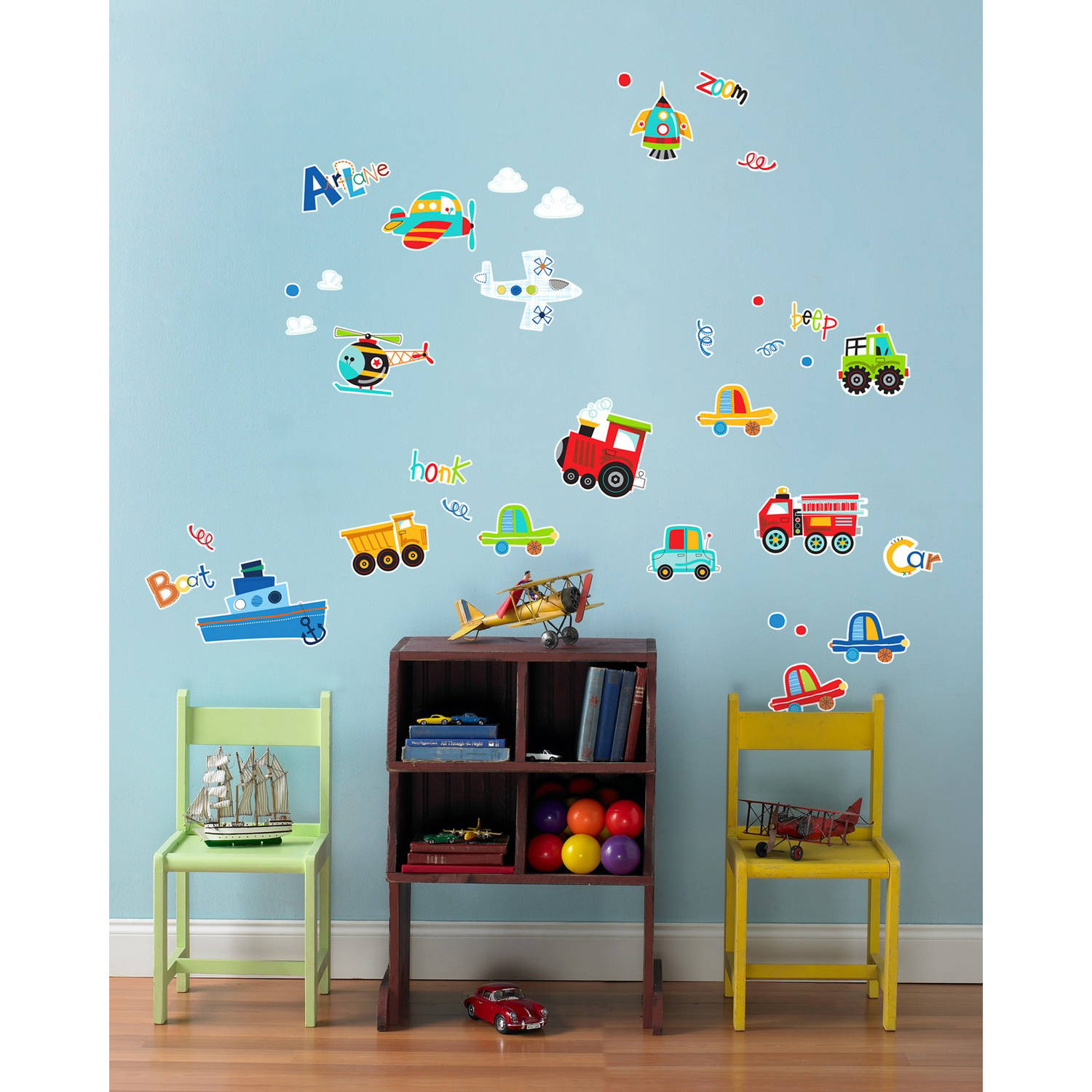 Trains Planes and Cars Small Wall Decal