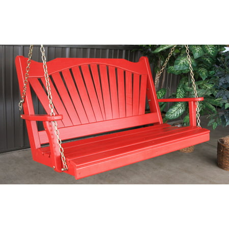 A & L Furniture Yellow Pine Fanback Porch Swing