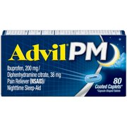 Advil PM (80 Count) Pain Reliever / Nighttime Sleep Aid Caplet, 200mg Ibuprofen, 38mg Diphenhydramine