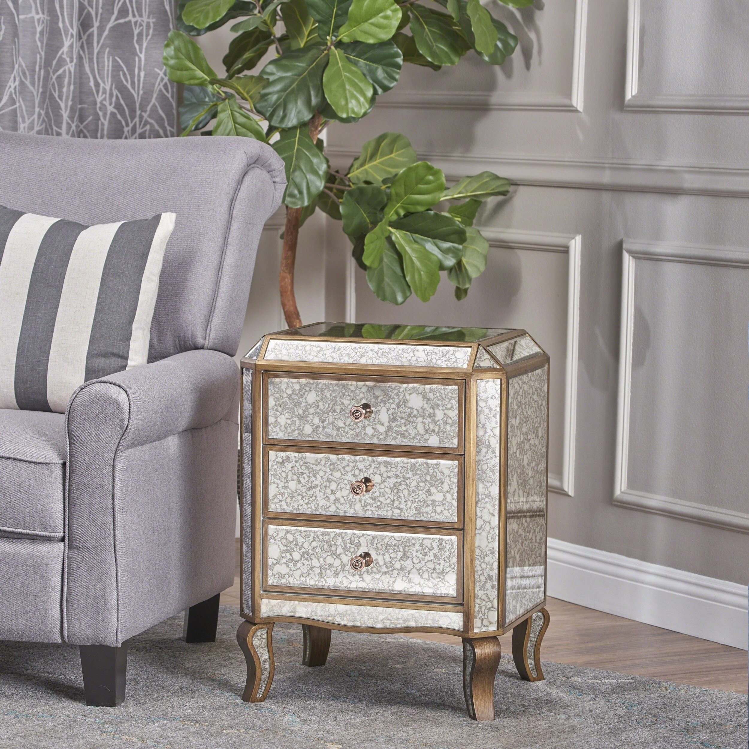Christopher Knight Home Nicos Mirrored 3-Drawer Cabinet by