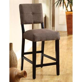 Backside Chairs (Bayside II Contemporary Style Counter Height Chairs Set of 2 in Padded Upholstered Seat and Espresso)