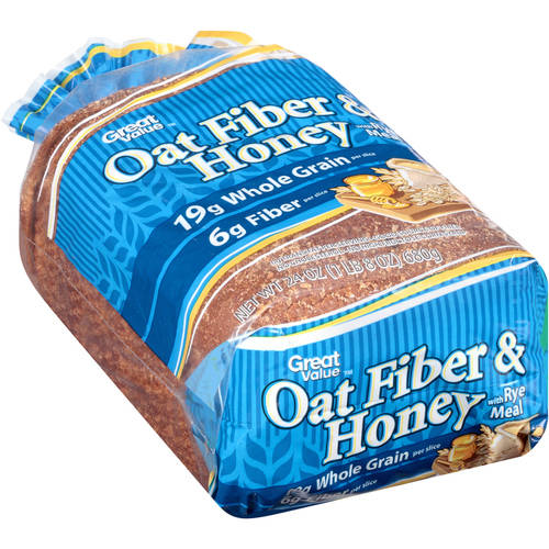 Great Value Oat Fiber & Honey Bread with Rye Meal, 24 oz