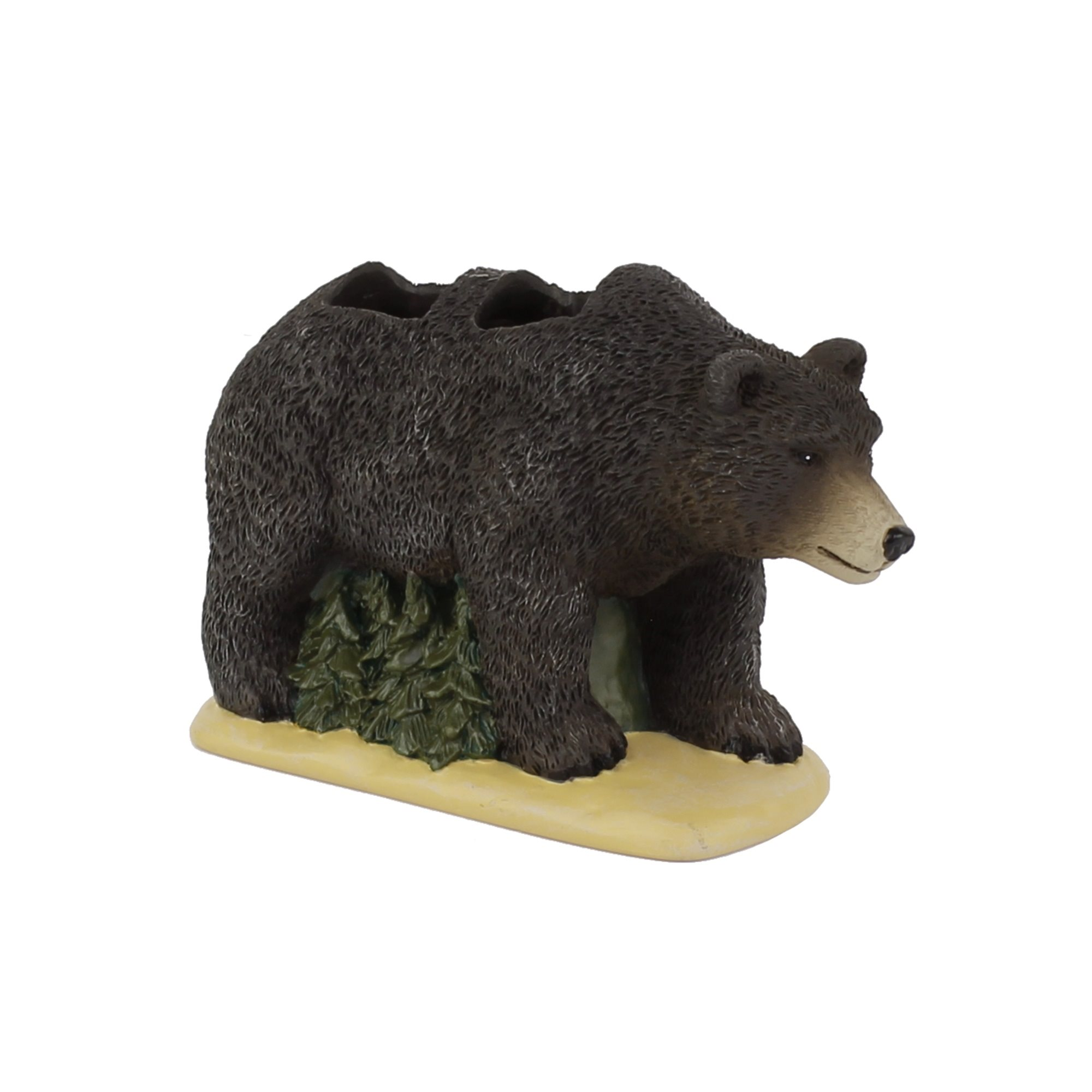 """Saturday Knight Ltd Timberline High Quality Easily Fit & Everyday Use Toothbrush Holder 3.74x2.44x5.84"""" - Earthtones"""