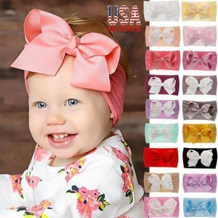 Nike Nylon Headband (USA Girl Kids Baby Nylon Bow Hairband Headband Stretch Turban Knot Head Wrap New)