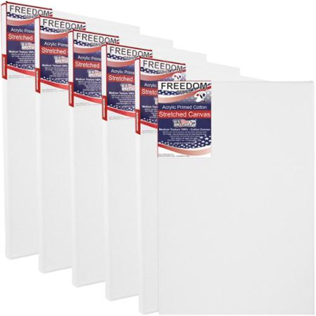 US Art Supply 36 X 48 inch Professional Quality Acid Free Stretched Canvas 6-Pack - 3/4 Profile 12 Ounce Primed (Best Gesso For Canvas)
