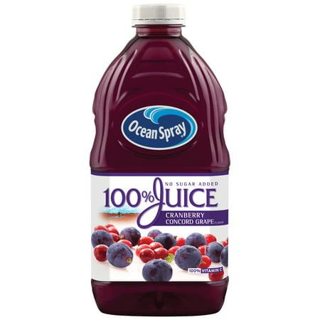 (2 Pack) Ocean Spray 100% Juice, Cranberry Concord Grape, 60 Fl Oz, 1 Count ()