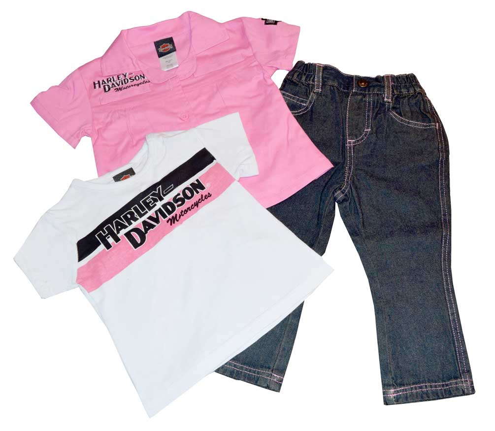 Harley-Davidson Baby Girls\' 3 Piece Set, Prestige Tee & Denim Pant ...