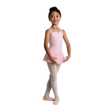 "Danshuz Little Girls Pink Sweetheart ""Wave"" V-Neck Dance Tank Dress"