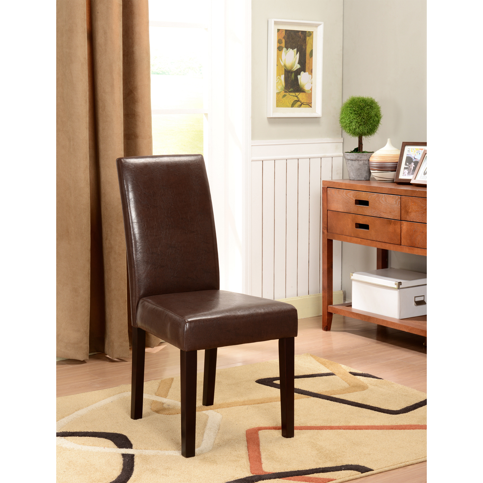 K and B Furniture Co Inc K&B Brown Leatherette Parson Chairs