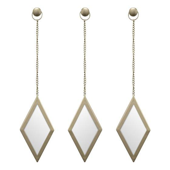 Better Homes Amp Gardens Gold Metal 3 Pc Diamond Mirror Set