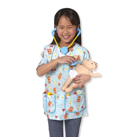 Melissa & Doug Pediatric Nurse Role Play Costume Set (8 pcs) - Includes Baby Doll, Stethoscope (Melissa And Doug Costumes)