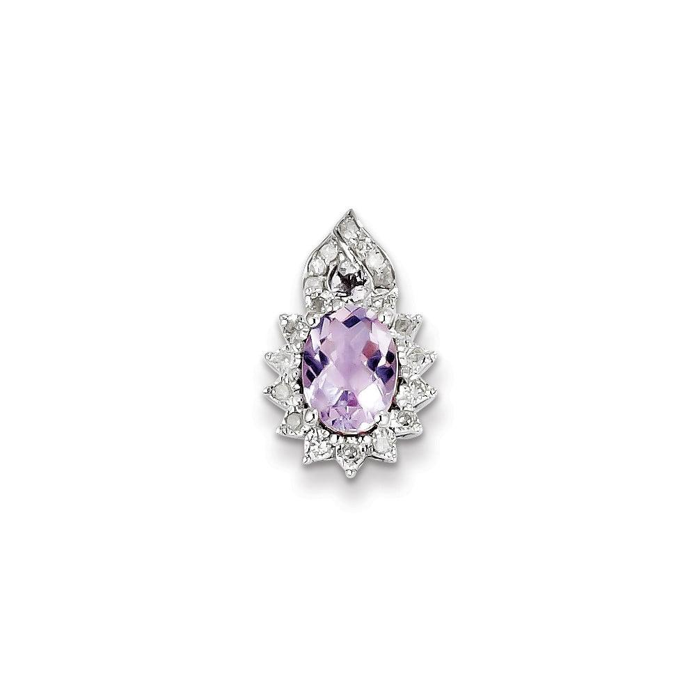 Sterling Silver Diamond Pink Amethyst Pendant. Carat Wt- 0.15ct. Gem Wt- 1.11ct