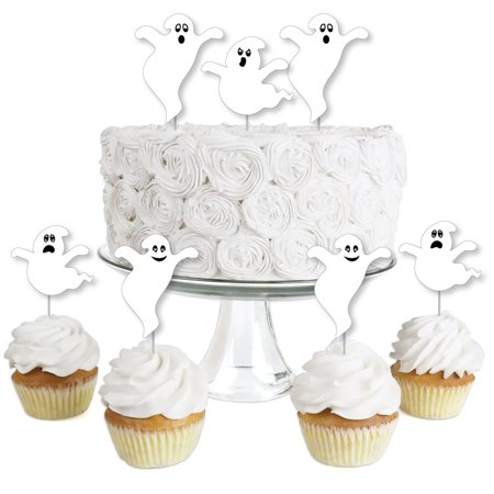 Spooky Ghost - Dessert Cupcake Toppers - Halloween Party Clear Treat Picks - Set of 24 - Halloween Ghost Cupcakes Martha Stewart