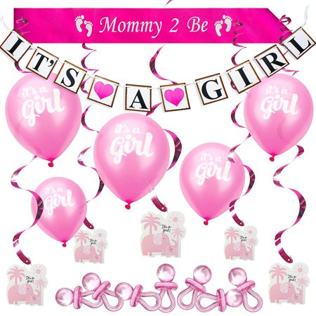 Baby Shower Set Girl Pink Decoration Party Bundle Kit Hottest Favors - It's a Girl Banner, Balloons, Mommy Sash, Foil Elephant Swirls, Large Acrylic Pacifiers for Table Scatter -