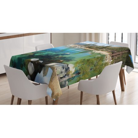California Place (Lake Tahoe Tablecloth, Scenic American Places Mountains with Snow Rocks in the Lake California Summer, Rectangular Table Cover for Dining Room Kitchen, 60 X 84 Inches, Multicolor, by)