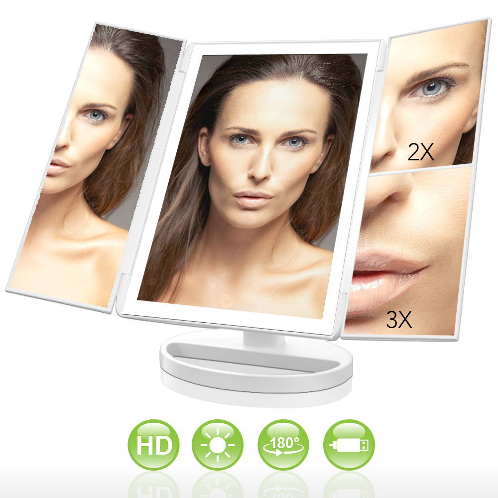 LivingPro Vanity Makeup Mirror with Upgraded Anti-Glare & Natural LED Lighting Controlled by Dimmable Touch Screen Sensor Dual Power Supply & 3X 2X 1X Magnification