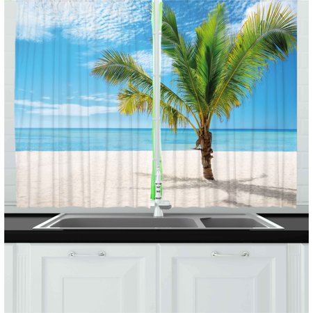 Tropical Curtains 2 Panels Set Exotic Beach With Palm
