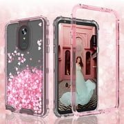 LG Stylo 5 Case, LG Stylo 5 Plus Case, Clear Glitter Sparkle Waterfall Liquid Shockproof Protective Bling Hard Cases for LG Stylo 5/LG Stylo 5 Plus - Pink