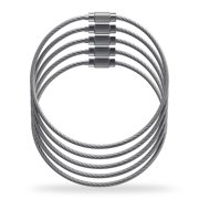 Shacke Luggage Tag Loops - Stainless Steel Metal Wire Straps (10-Pack Silver)