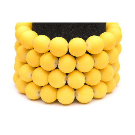 Frosted Glass Beads Yellow Rubber-Tone Beads 6mm Round Sold Per Pkg of 3x32Inch (465 Beads) ()