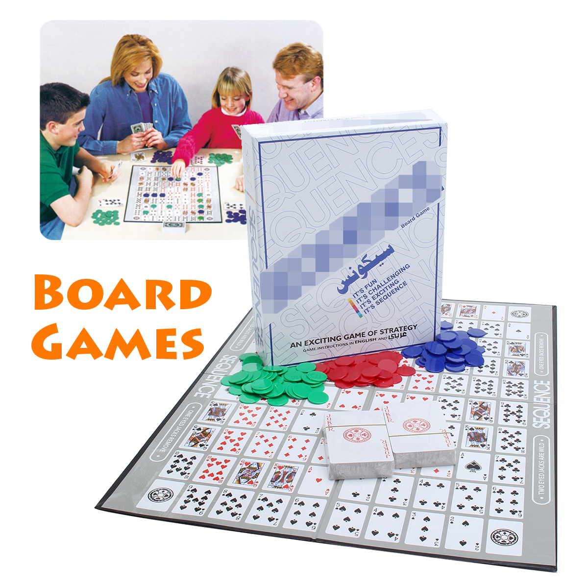 Sequence Strategy Card Board Family Game Challenge W 135 Playing