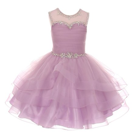Girls Lilac AB Stone Adorned Charmeuse Tulle Organza Easter Dress - Couture Costume D'halloween