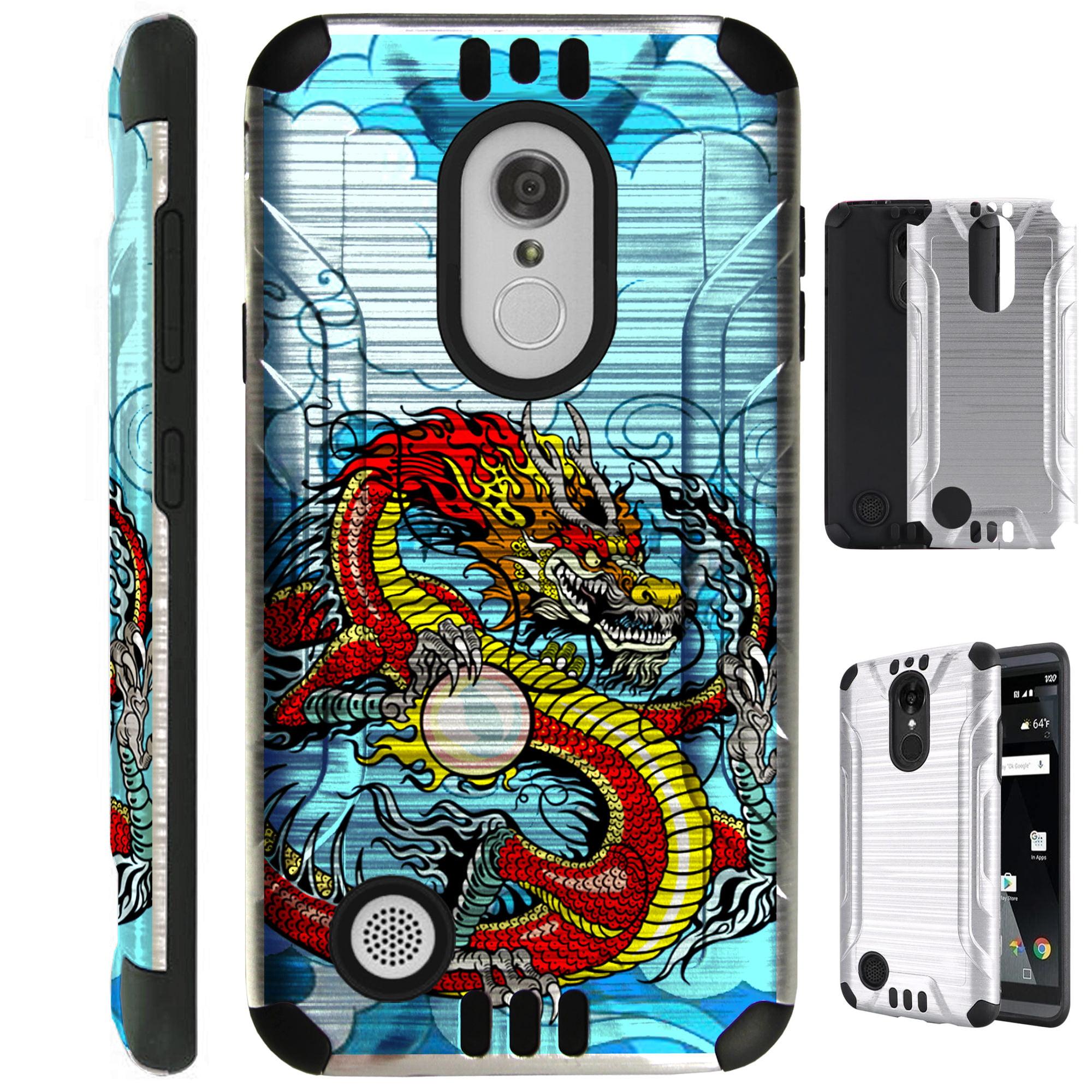 For LG K20 Plus / LG K20 V LV5 / LG Harmony / LG Grace / LG K10 (2017) Case Brushed Metal Texture Hybrid TPU Metallic Guard Phone Cover (Red Dragon)