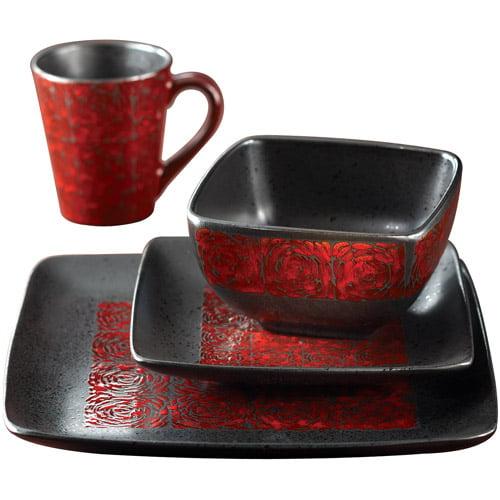 Yardley Red 16 Piece Dinnerware Set