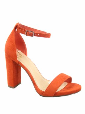 Shiner Women's Fashion Open Toe Ankle Strap Buckle Chunky High Heels Sandals Shoes