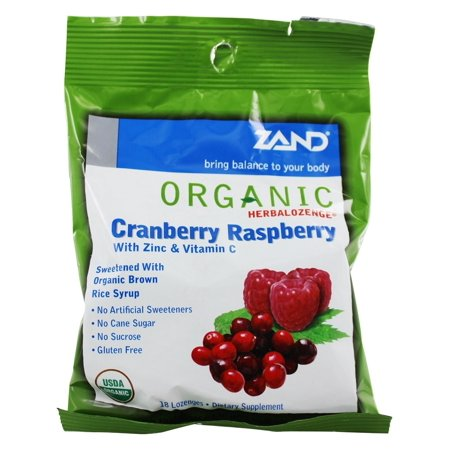 Zand HerbaLozenge Organic Cranberry Raspberry | Throat Lozenges w/ Vit. C & Zinc for Immune Support | No Corn Syrup or Cane Sugar