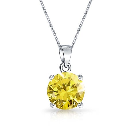 2CT Round CZ Solitaire Brilliant Cut Canary Yellow Pendant Necklace For Women Simulated Topaz 925 Sterling (Brilliant Cut Citrine Pendant)