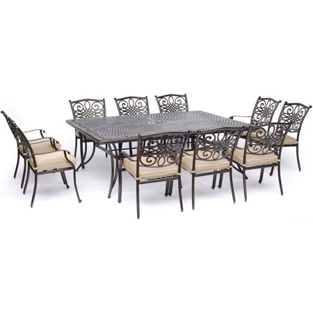Hanover Traditions 11-Piece Outdoor Dining Set with Cast-Top Table and 10 Stationary Chairs ()