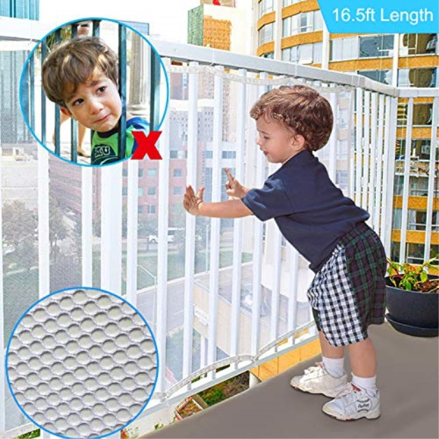 Indoor /& Outdoor Rail Balcony Banister Stair Net,SGS Passed Child Safety Rail Net for Stairs CuleedTec 16.5x2.5ft Balcony Protective Net for Kids Toys Pets Anti-Fall Protection Net for Children