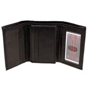 Mens Wallet Trifold Tall Genuine Leather Center Flap 9 Card Slots 2 IDs Cowhide