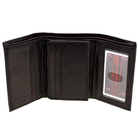 Mens Wallet Trifold Tall Genuine Leather Center Flap 9 Card Slots 2 IDs (Tall Mens Wallet)